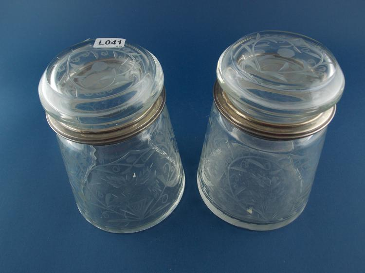 A PAIR OF CUT-CRYSTAL AND SILVER CANDY JARS
