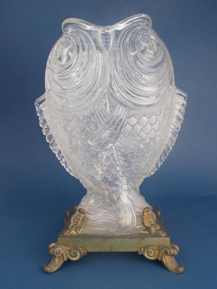 A CRYSTAL AND BRONZE VASE