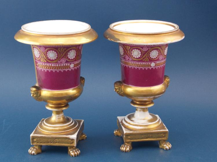 A PAIR OF FRENCH PORCELAIN GOBLETS