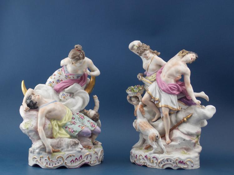 A PAIR OF GERMAN PORCELAIN FIGURAL GROUPS