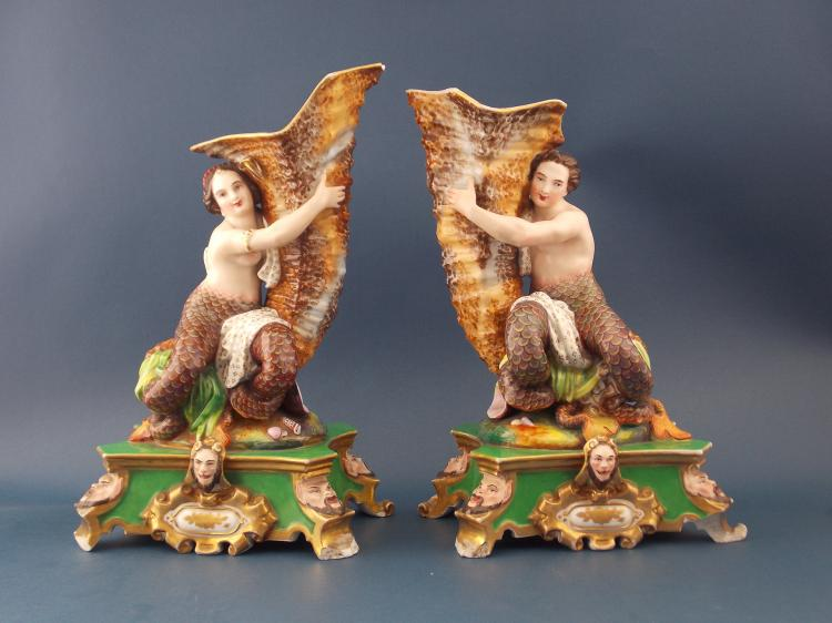 A PAIR OF JACOT PETIT PORCELAIN FIGURAL VASES