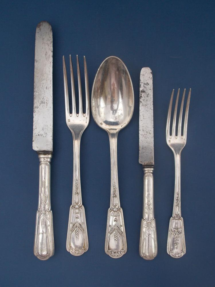 a christofle silver plated flatware service. Black Bedroom Furniture Sets. Home Design Ideas