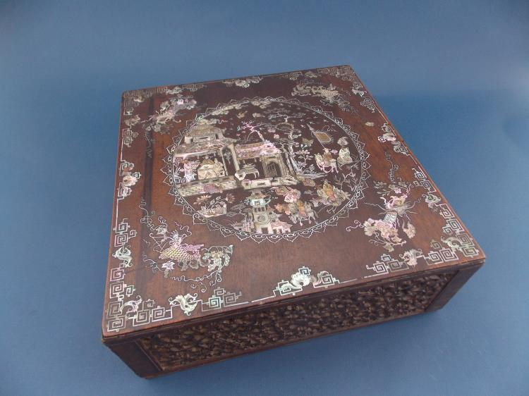 A CHINESE MOTHER-OF-PEARL-INLAID AND MARQUETRY BOX
