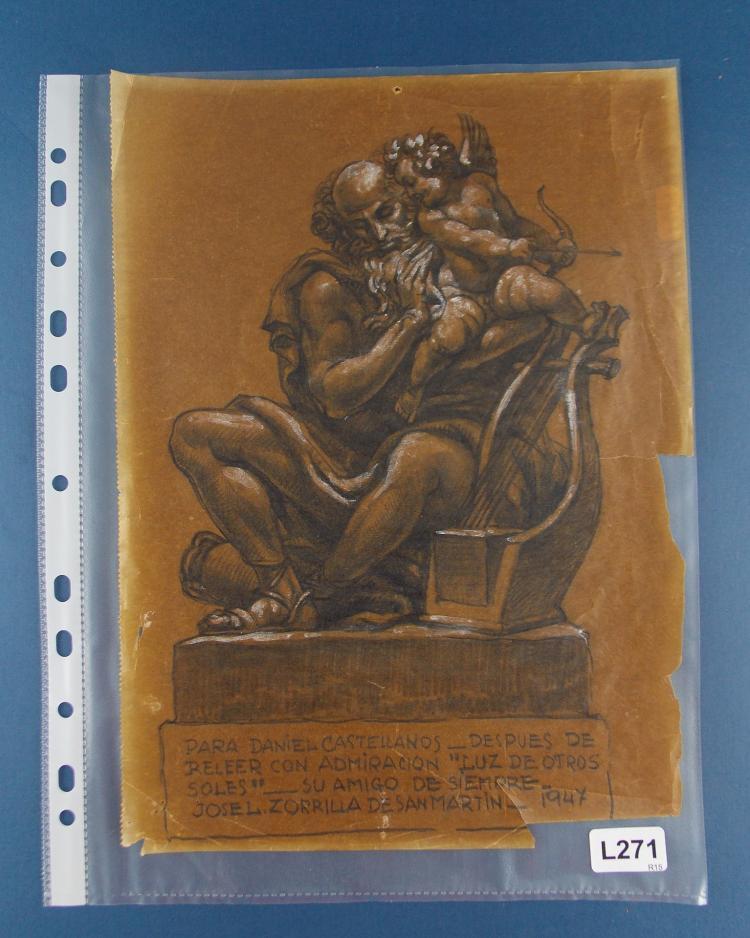 JOSÉ LUIS ZORRILLA DE SAN MARTÍN. A pencil, charcoal and pastel drawing