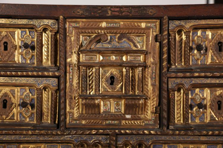A SPANISH BONE-INLAID WOOD CABINET-ON-STAND