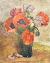 Ferdinand Oldewelt (1857-1935) - Rode pioenrozen in vaas