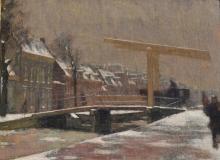 Ferdinand Oldewelt (1857-1935) - Overtoom in de winter Amsterdam