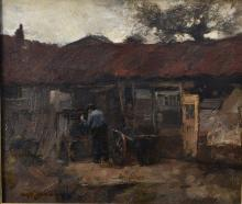 W.G.F. Jansen (Dutch 1871-1949) Busy in the yard