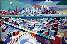 Lubbers, Adriaan (1892-1954), New York Skyline from Jersey Heights 1953, oil on canvas
