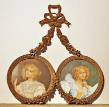 Unknown Two gilded bronze portraits