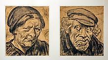 Groot  Maurits de (1880-1934) Portrait of a dutch farmer and his wife  portret van Jan van Heines de Bulleboer en zijn vrouw Japie Mol 1919