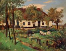 Akkeringa  J.E.H. (1861-1942) A farm with goats