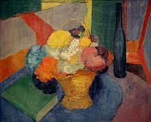Bleijenberg  Karel (1913-1981) Still life of a basket with flowers