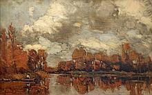 Bastert  Nicolaas (1854-1939) Autumn near river the Vecht in Holland