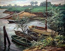 Eriks  Jac (1895-1965) River the IJssel near Olst in Holland
