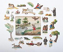 Fable game with text, sample leaf and insertable figures. ca 1820