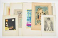 [FINE ARTS: 20TH-CENTURY GRAPHIC ARTS (LITHOGRAPHY, ETCHINGS ETC.) PART II] SEVEN VARIOUS ITEMS: (1) LOUIS FAVRE (1892-1956). (NUDE ON CHAIR IN INTERIOR)