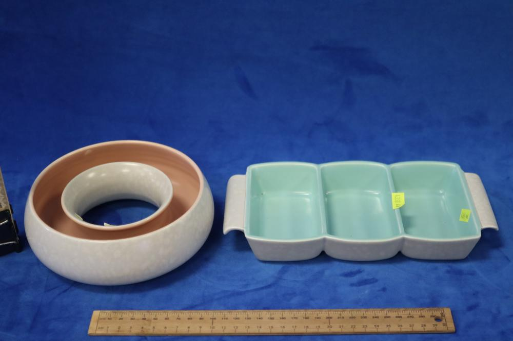 ENGLISH POOLE ROUND TROUGH VASE & ANOTHER DISH