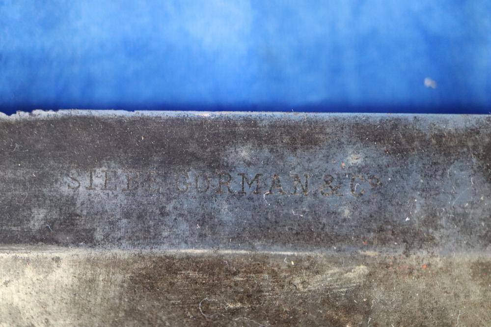 ORIGINAL SIEBE GORMAN & CO ORIGINAL MILITARY DIVER KNIFE, WOODEN END, IN METAL SHEATH,