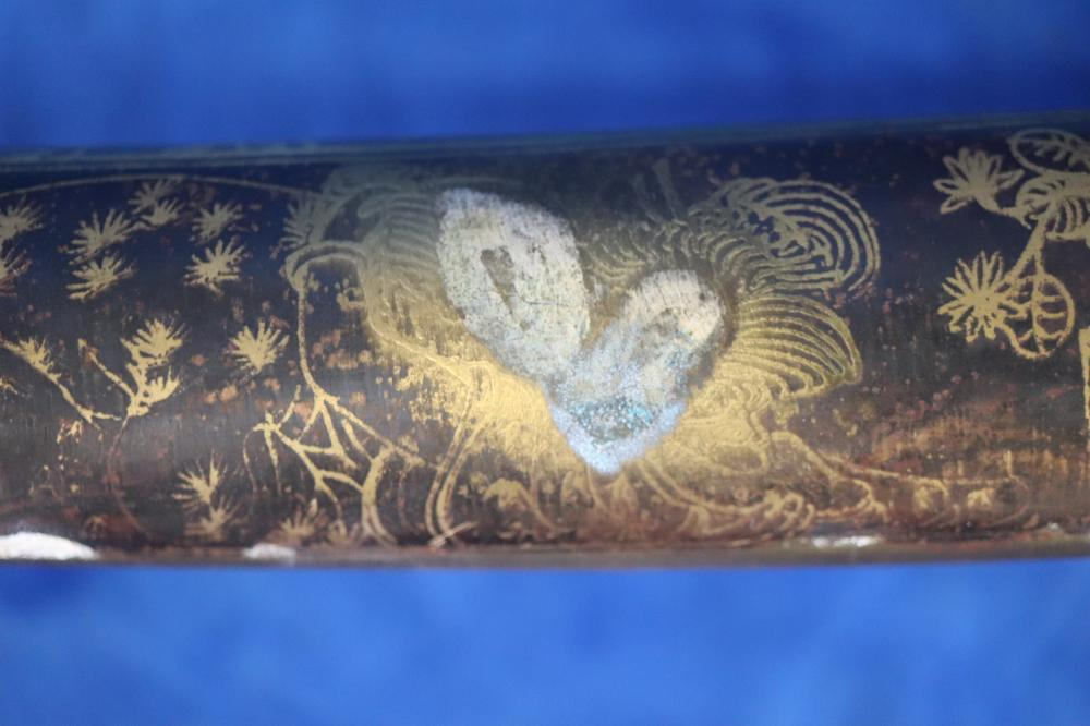 JAPANESE SAMURAI STYLE SWORD SIGNED SCABBARD ENGRAVED DECORATION INCL HORSES