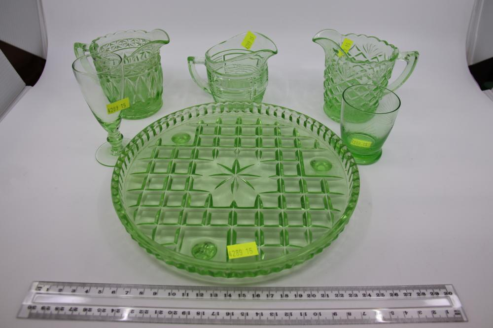 SELECTION OF GREEN DEPRESSION GLASS ITEMS