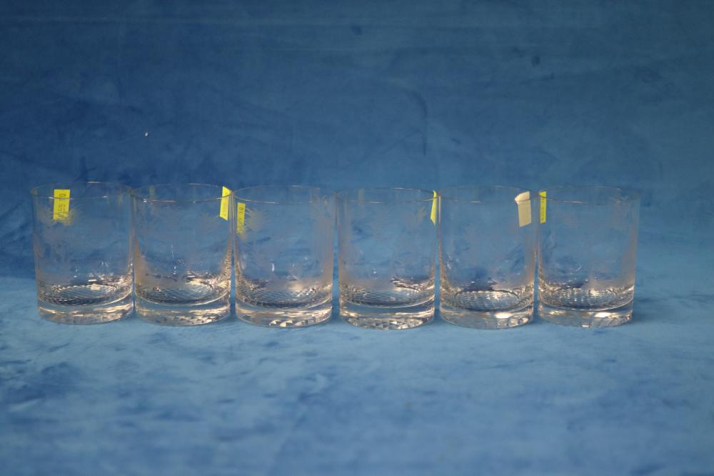 SET OF 6 TUMBLERS ETCHED WITH AUSTRALIAN ANIMALS