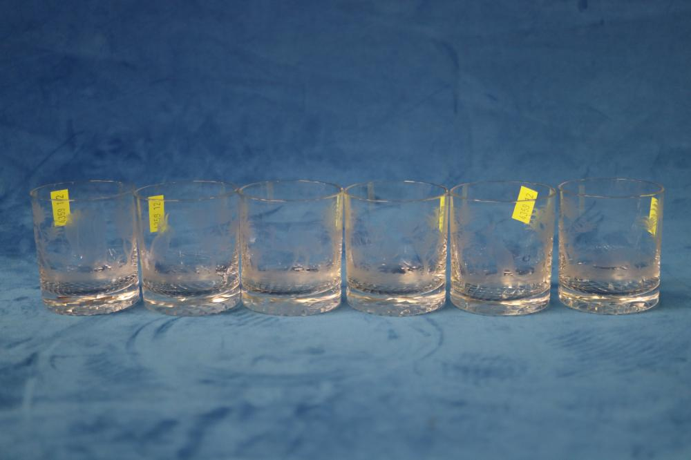 SET OF 6 SMALL TUMBLERS ETCHED WITH AUSTRALIAN ANIMALS
