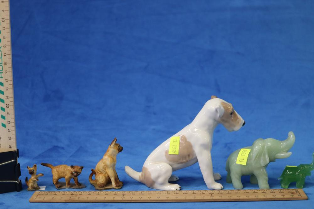 CERAMIC DOG FIGURE WITH 3 SMALL CAT FIGURES & 2 ELEPHANT FIGURES SOME AS FOUND