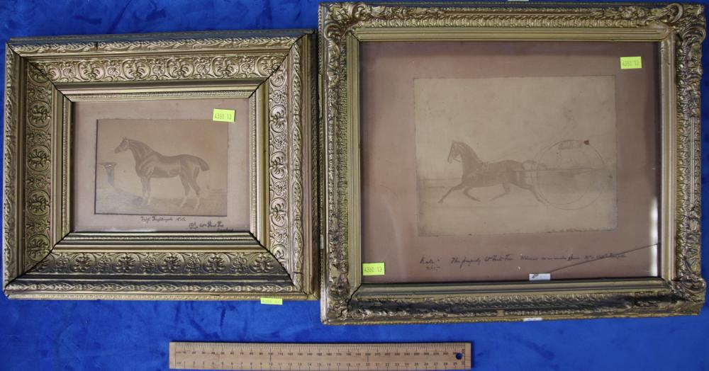 PAIR OF PICTURES IN GILT FRAMES DEPICTING HORSES