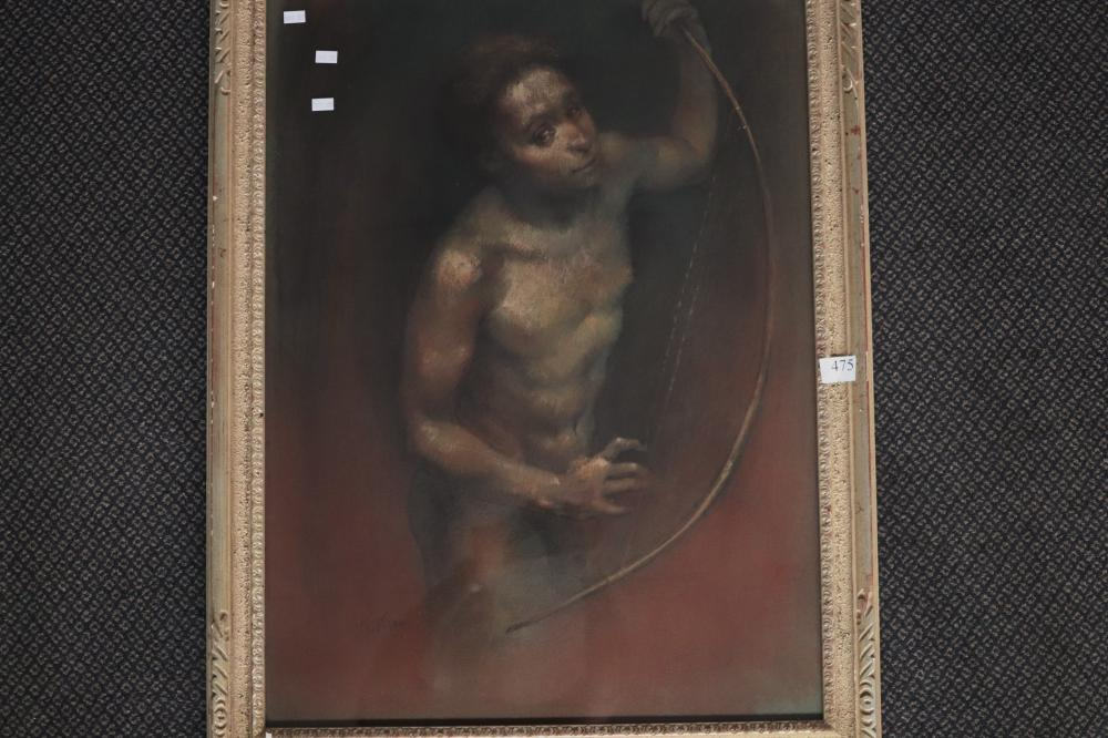 PATERSON, DAVID WITH THE HARP , PASTEL ON PAPER, SIGNED LOWER LEFT, MEASURES 74CM X 54CM