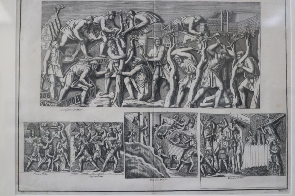PIETRO SANTI BARTOLI (1635-1700, ITALIAN) SET OF 6 BOOK PLATE PRINTS OF TARJAN'S PILLAR, ENGRAVED BY PIETRO SANTI BARTOLI, 20TH CENTURY COPIES, SOME FOXING, MEASURES 34CM X 40CM EACH