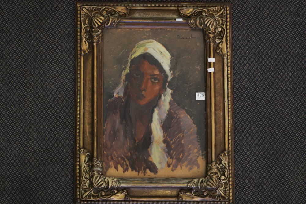 APOSTOL MANICIULESCU (ROMANIAN, 1887-1962) GYPSY GIRL, OIL ON BOARD, SIGNED UPPER RIGHT, MEASURES 49CM X 34CM