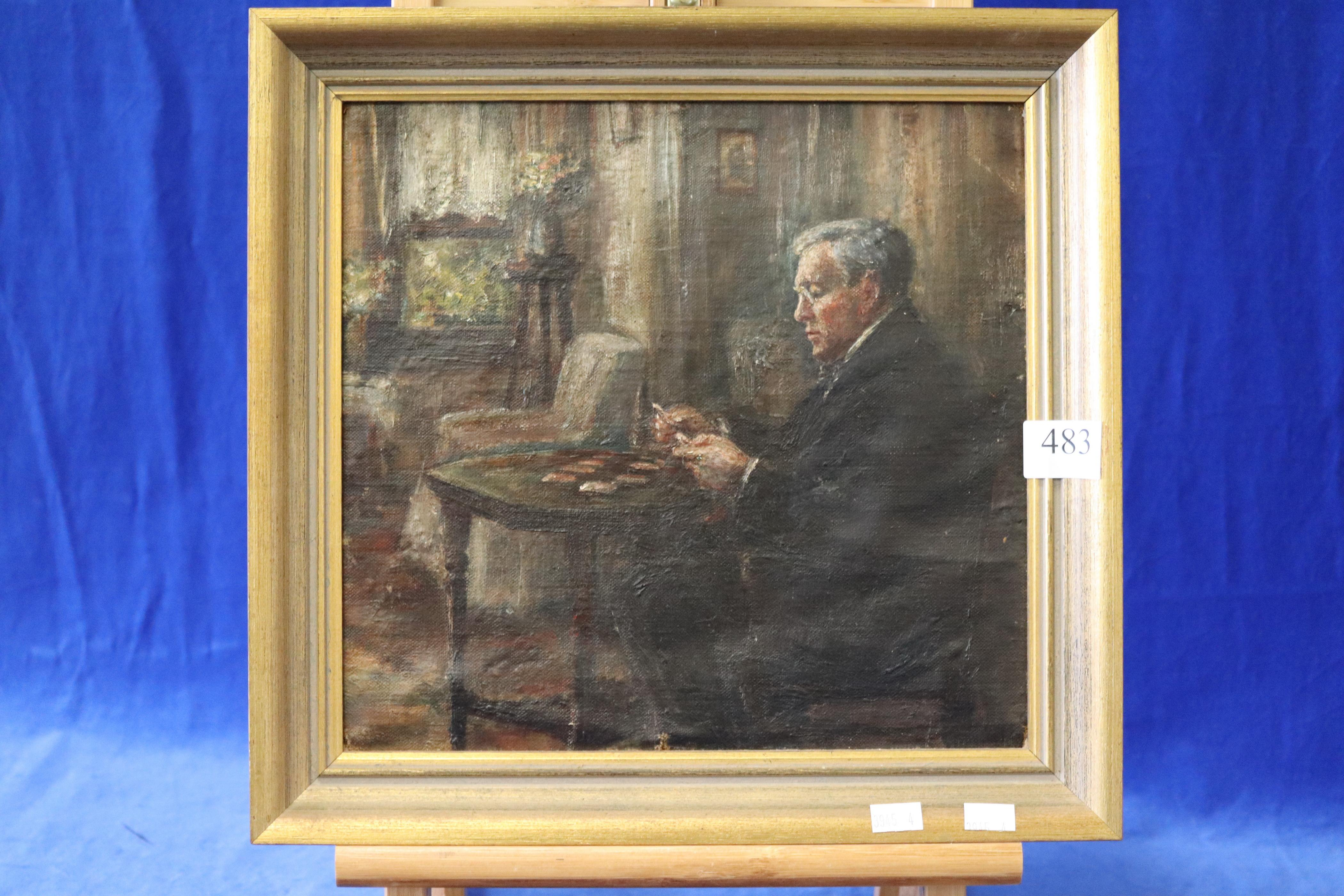 ARTIST UNKNOWN, (ATTRIBUTED TO JOHN LONGSTAFF (SEE REVERSE)) MAN PLAYING PATIENCE, OIL ON CANVAS, MEASURES 28CM X 29CM