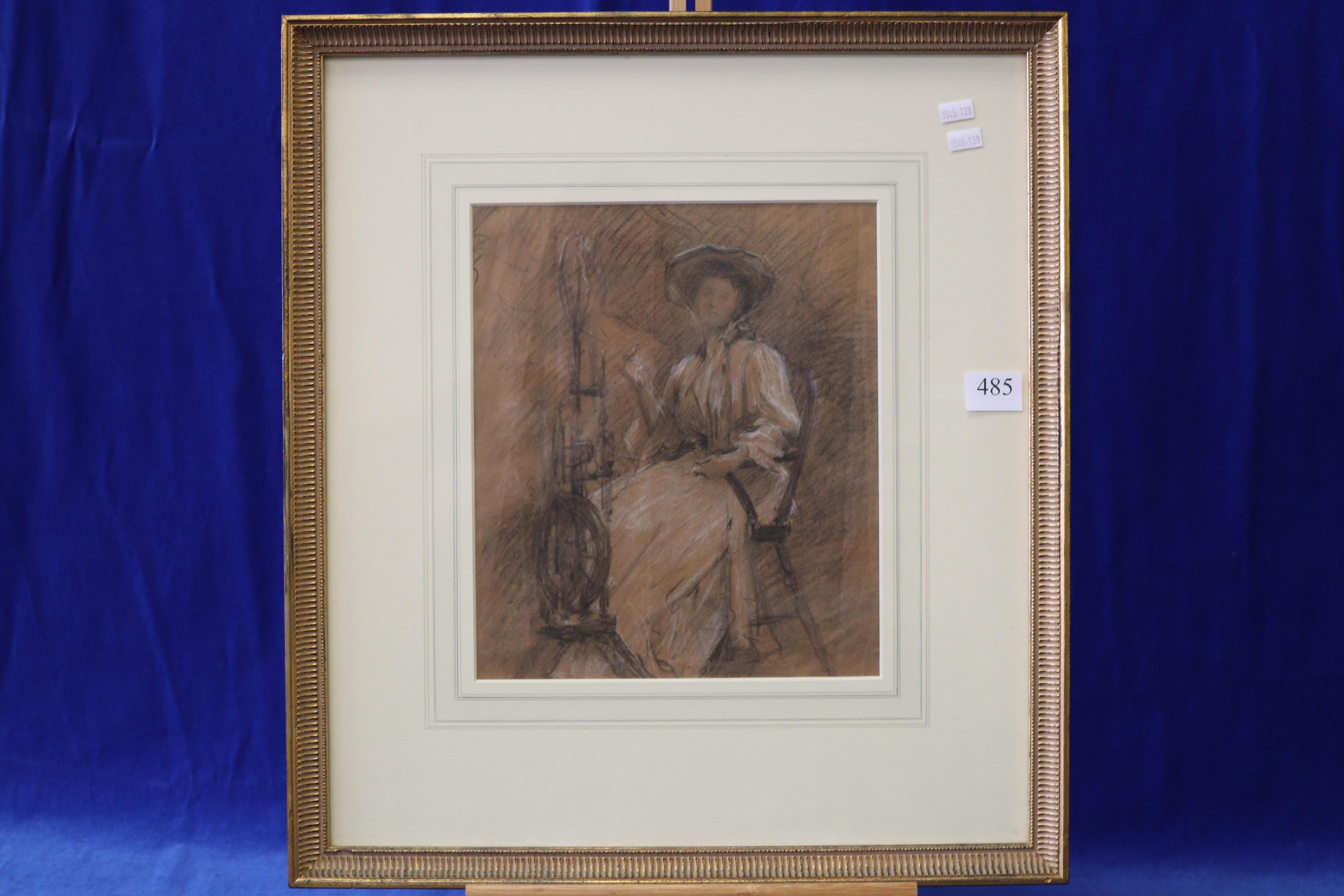 """SAMUEL MELTON FISHER, RA (BRITISH, 1859-1939) """"STUDY LADY WITH SPINNING WHEEL"""", INSCRIBED VERSO: FROM A FOLIO OF DRAWINGS BY SAMUEL MELTON FISHER, RA RWA PS, CHARCOAL ON BROWN PAPER, MEASURES 26CM X 30.5CM"""