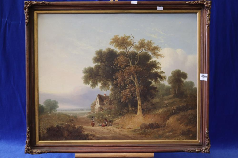 ARTIST UNKNOWN, COUNTRY LANE, OIL ON WOOD PANEL, MEASURES 47CM X 58CM