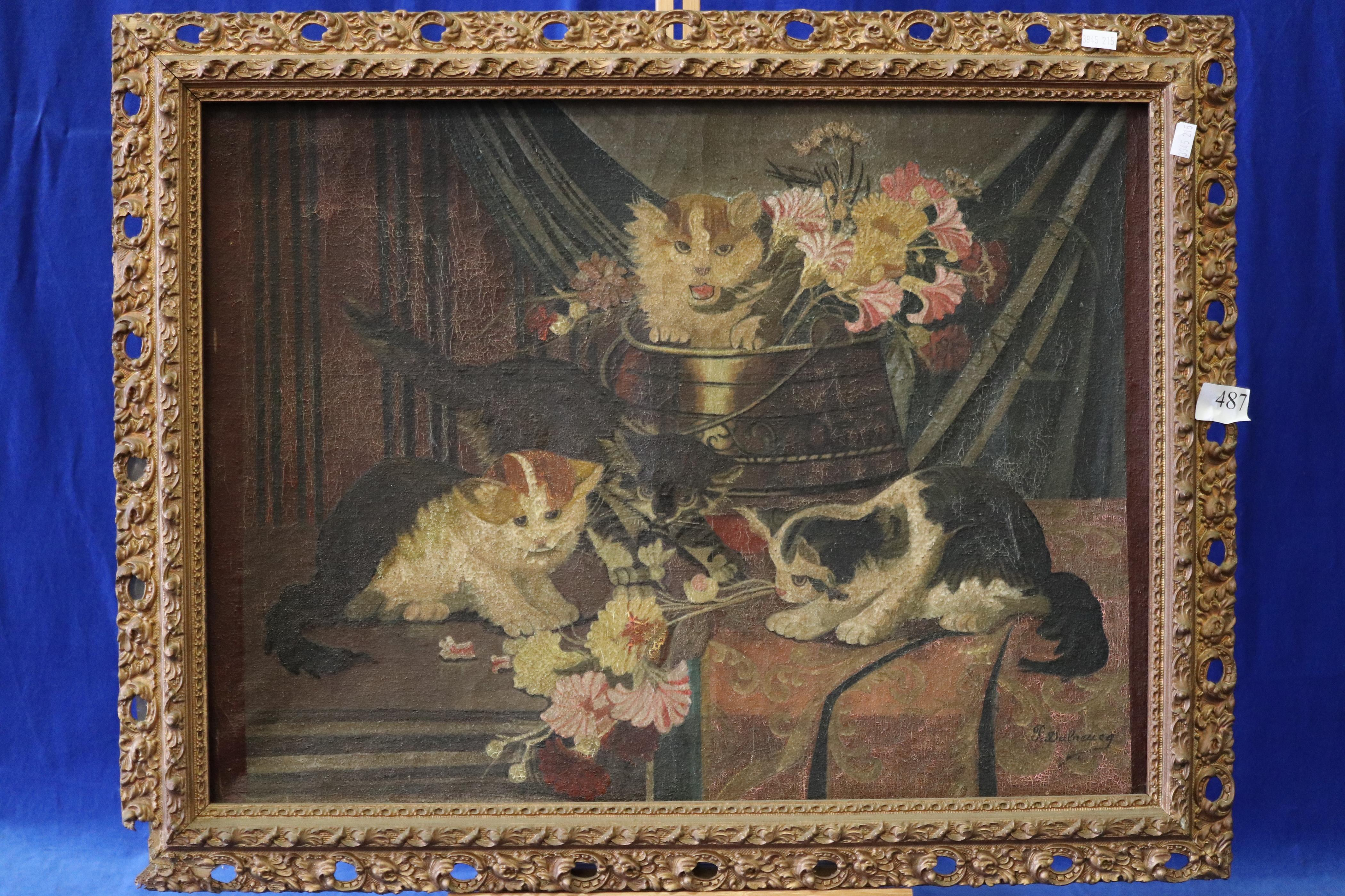 ARTIST UNKNOWN, CATS IN FLOWER POT, LATE 19TH/EARLY 20TH CENTURY, OIL ON CANVAS, SIGNED LOWER RIGHT, UNREADABLE, MEASURES 34CM X 58CM (CRACKLING AND WEAR TO CANVAS)