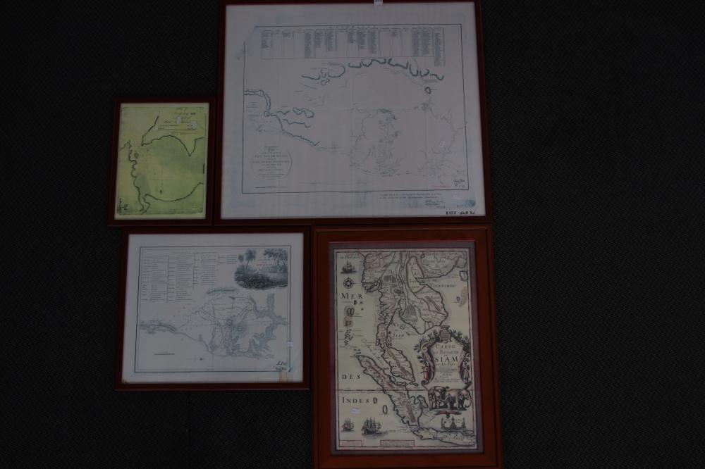 4 FRAMED MAPS INCL CAPTAIN COOK SYDNEY & BOTANY MAP