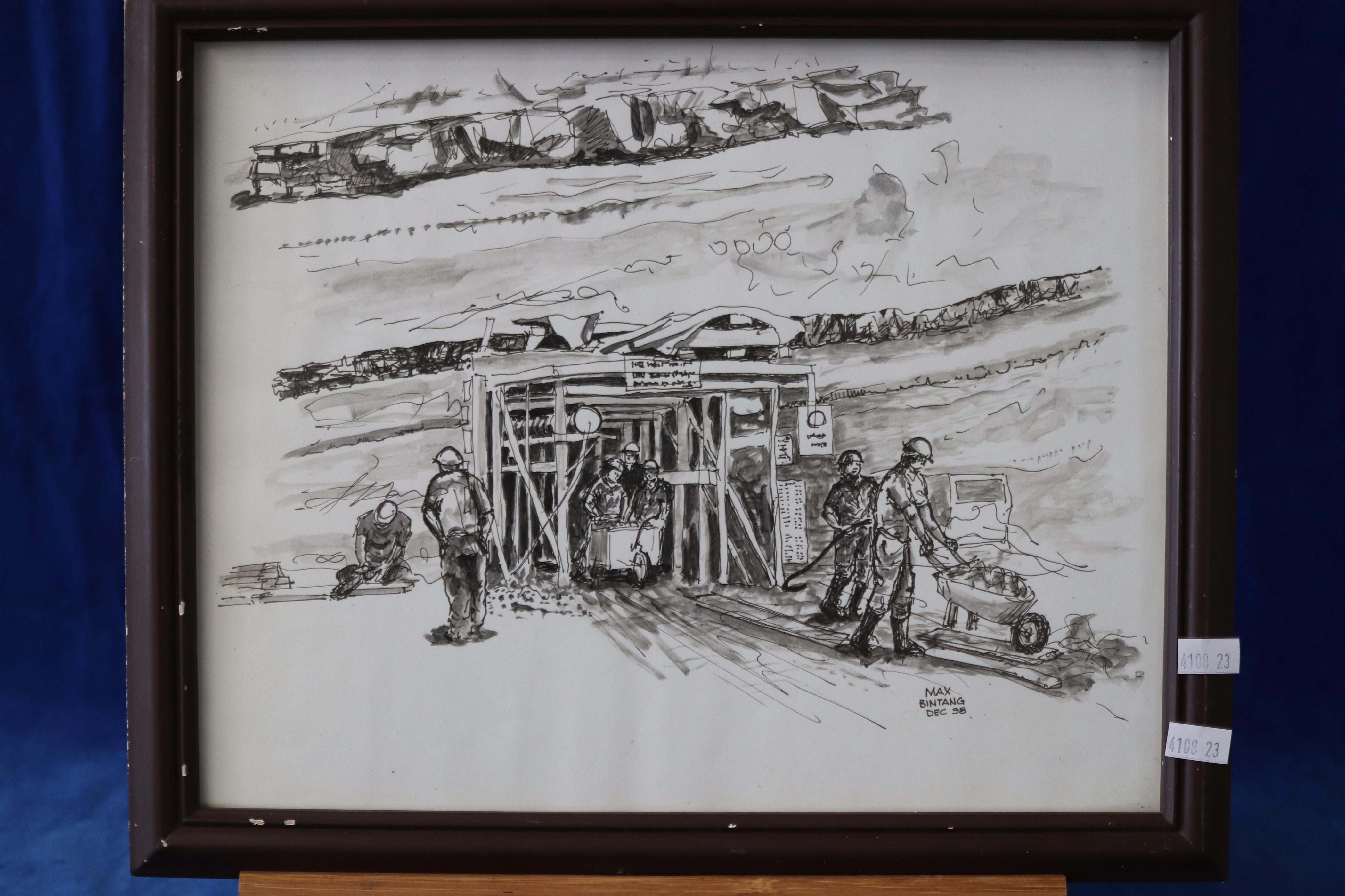 ORIGINAL SKETCH - AUSTRALIAN COAL MINERS IN AN INDONESIAN MINE SIGNED MAX BINTANG