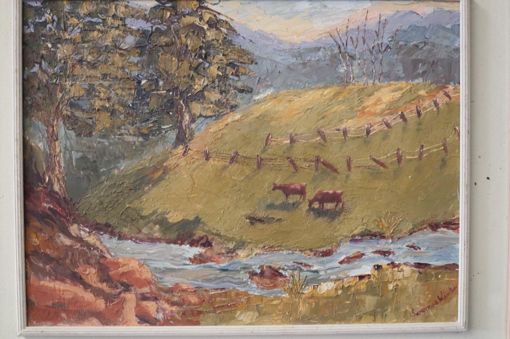 FARMING SCENE OIL PAINTING SIGNED CATTLE ETC.
