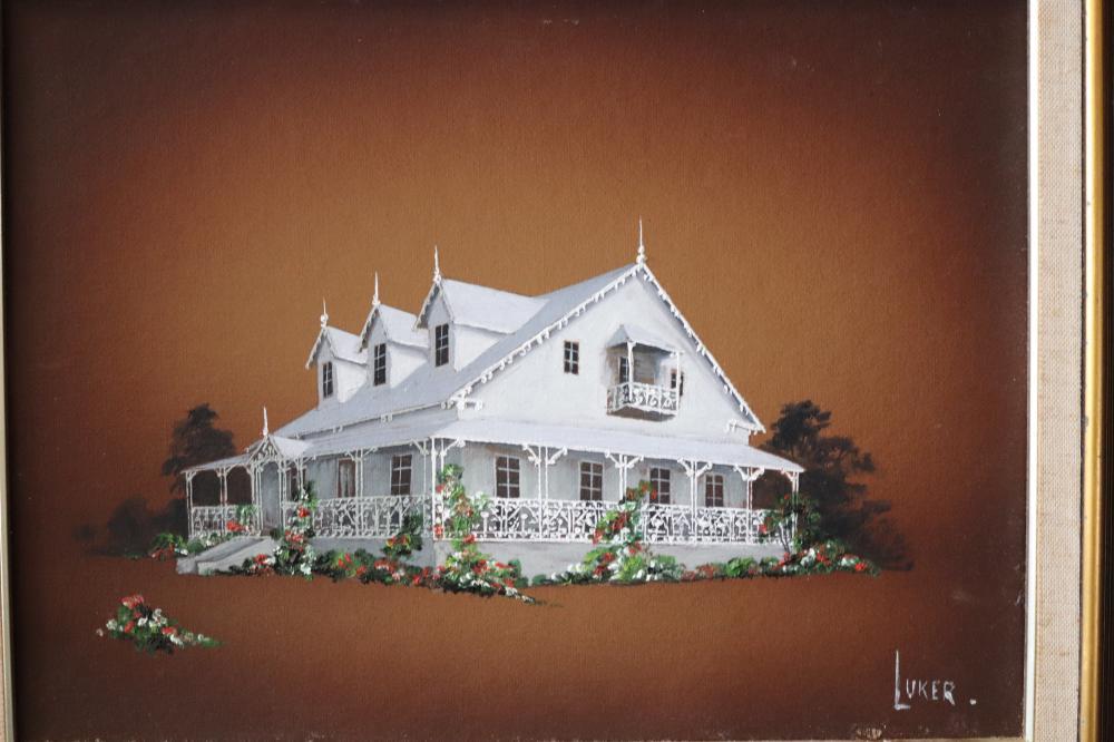 BRISBANE PAINTING OF FARRINGTON HOUSE BY LUKER 28CMS X 22 CMS