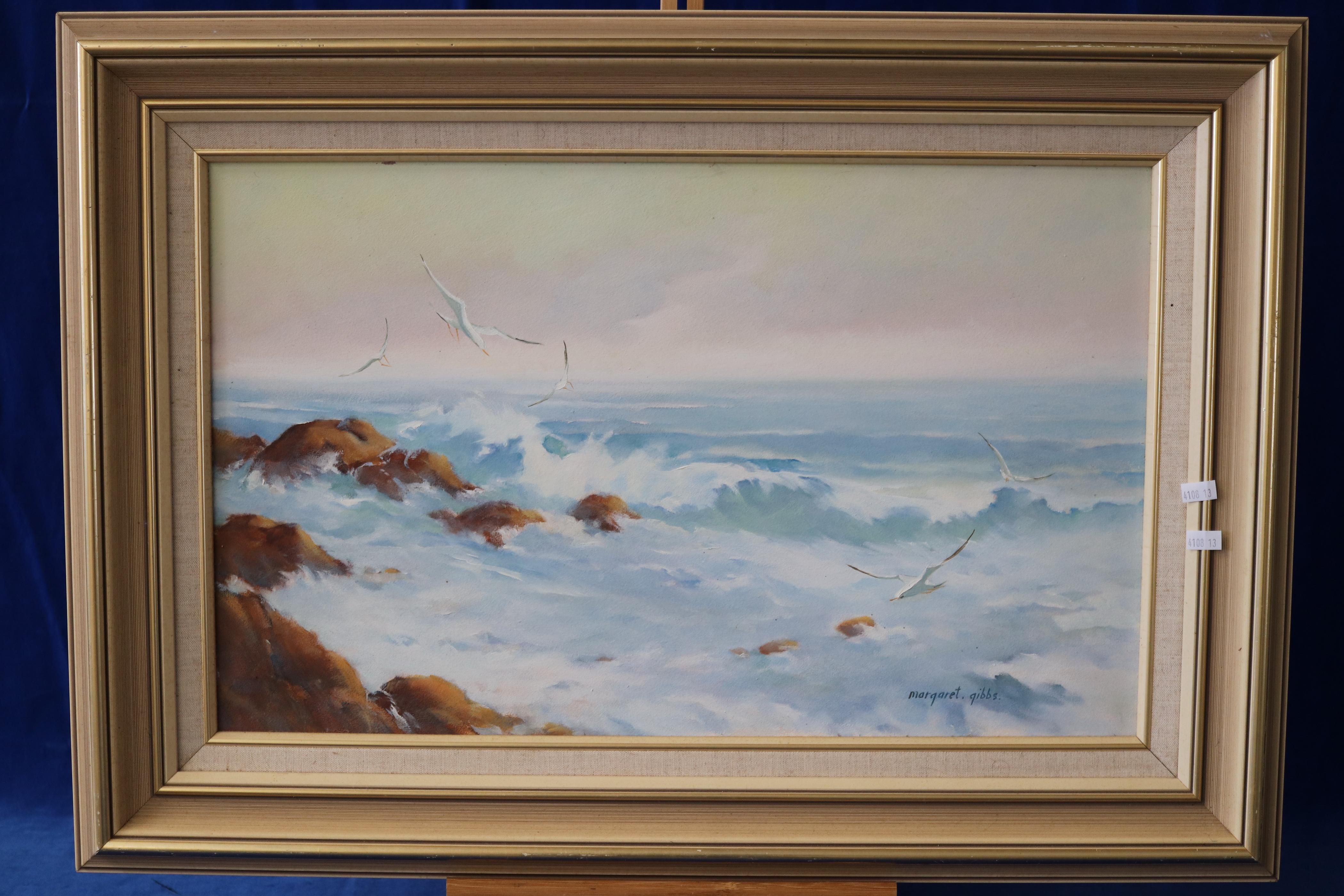 OIL PAINTING BY AUSTRALIAN ARTIST - MARGARET GIBBS - SOUNDS OF THE SEA - 59CM W X 38CMS
