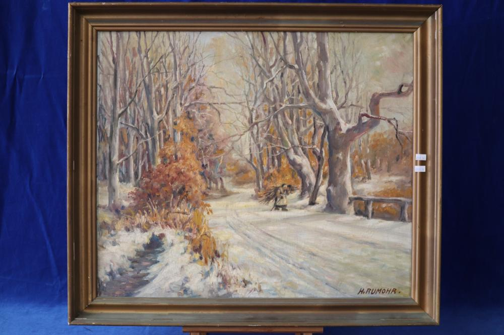 EUROPEAN OLD OIL PAINTING BY H. RUMOHR 64CMS X 55CMS