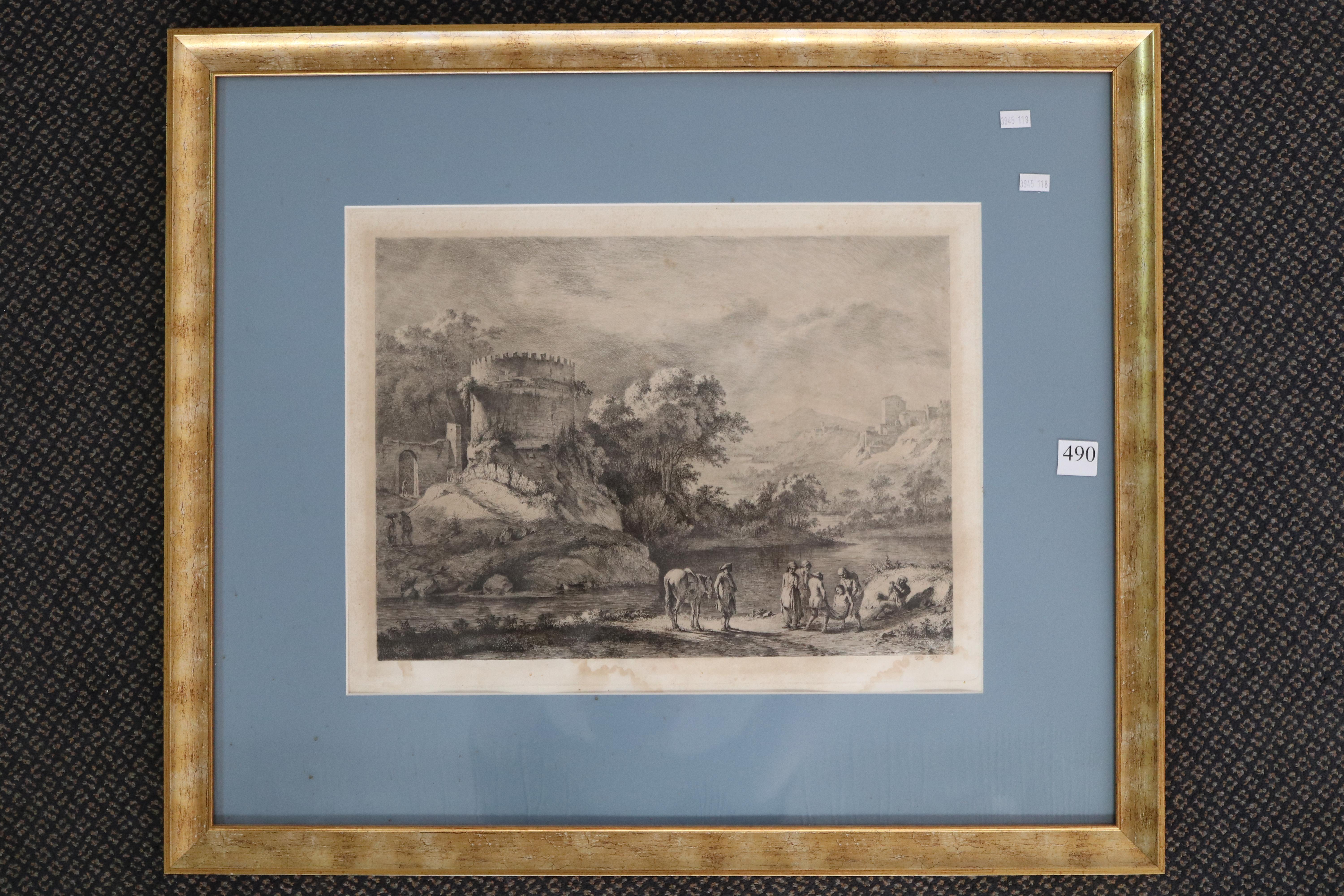 "JEAN JACQUES DE BOISSIEU, ETCHING, "" STRONG WATERS"" SIGNED LOWER RIGHT D, 1797, MEASURES 41CM X 30CM, (MINOR FOXING AND WATER DAMAGED)"