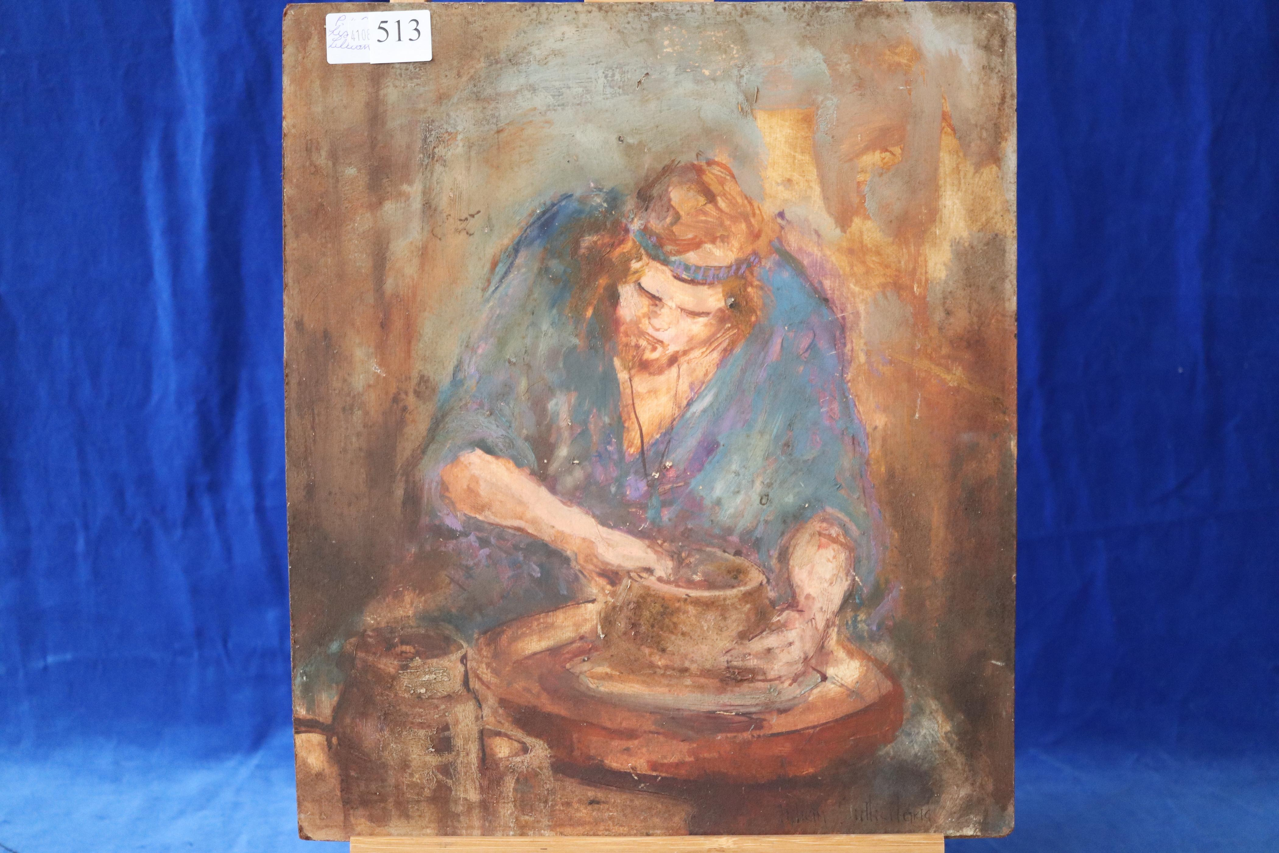 UNFRAMED OIL BY LISTED AUST. ARTIST - THE POTTERER - BY LILLIAN SUTHERLAND