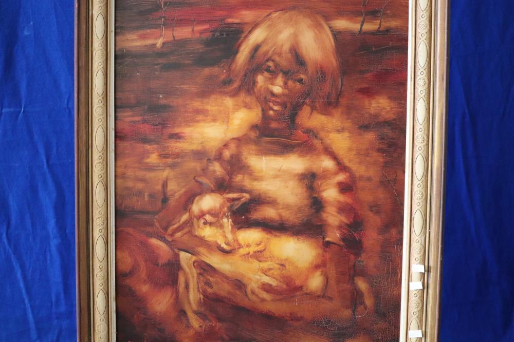 LARGE AUSTRALIAN PAINTING - GIRL/LAMB 49CM X 67CM