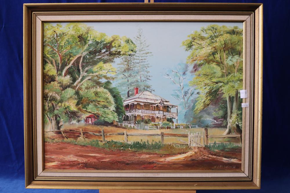 SIGNED PAINTING OIL BY T MCGEOWN ABANDONED COLONIAL HOME - LISNAGAR - OUTSIDE OF MURWILLUMBAH