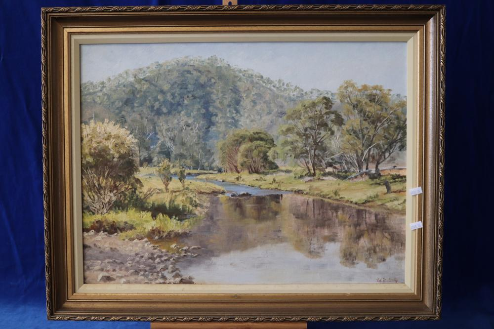 VAL MULCAHY BRISBANE ARTIST OIL PAINTING AUTUMN EVENING