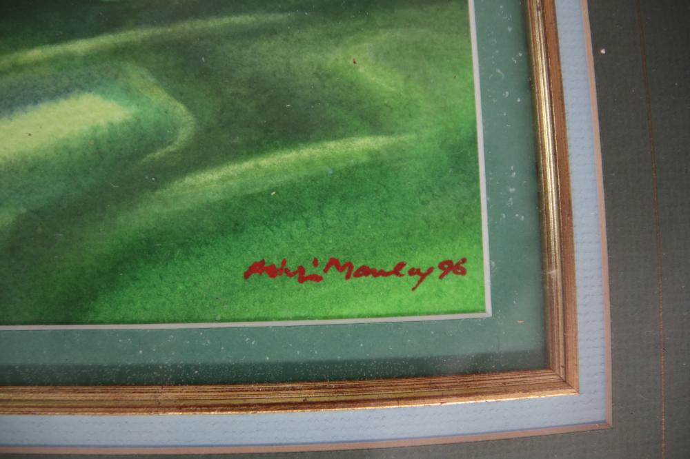 ASHLEIGH MANLEY SIGNED WATERCOLOUR - 1ST THE PINES & GOLD COAST GOLFING & GOLFING WARNE GRADY MEMORABILIA PRESENTATION