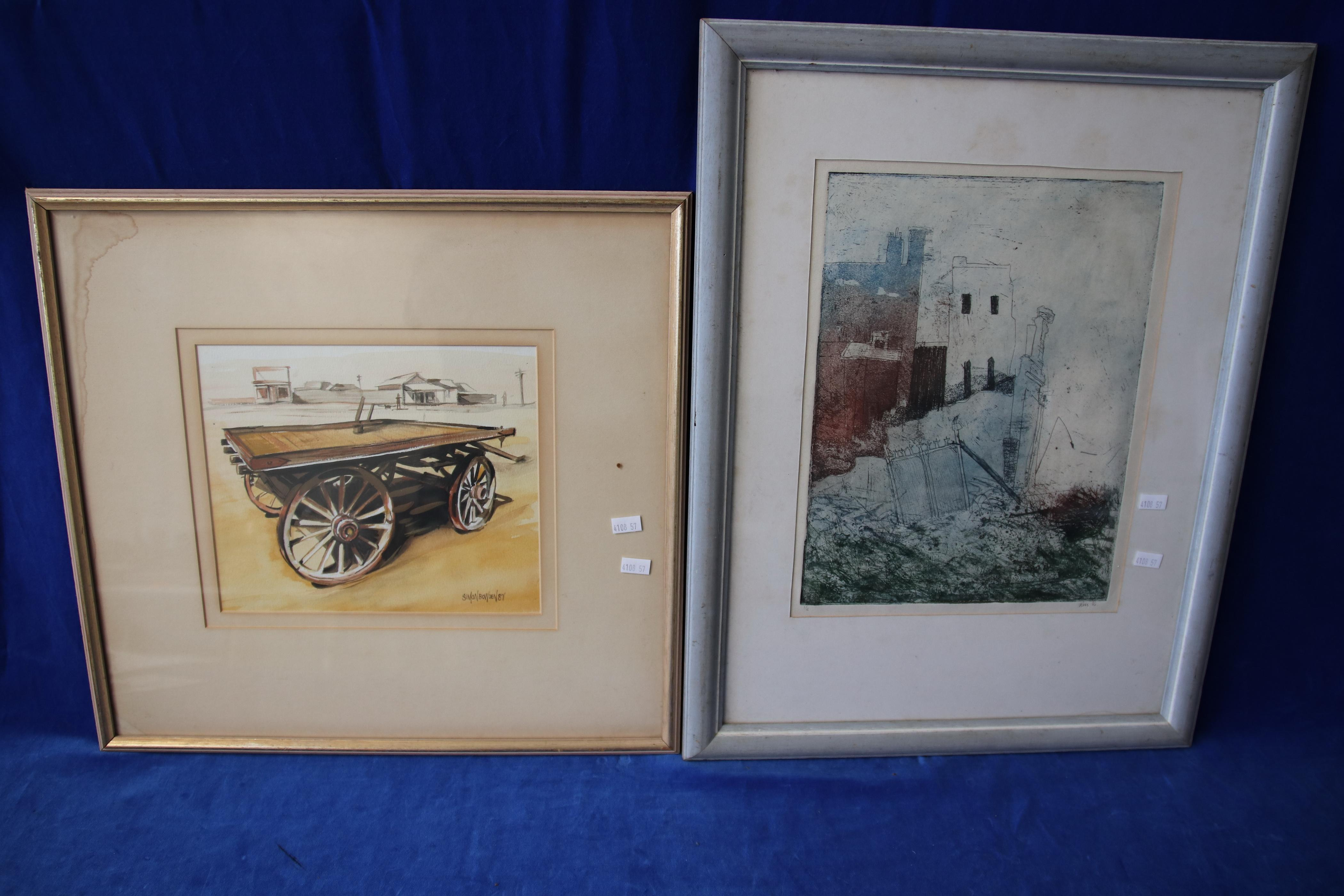 2 FRAMED SIGNED WATERCOLOURS - SIMON BOWDEN 87 AND ROSS 86