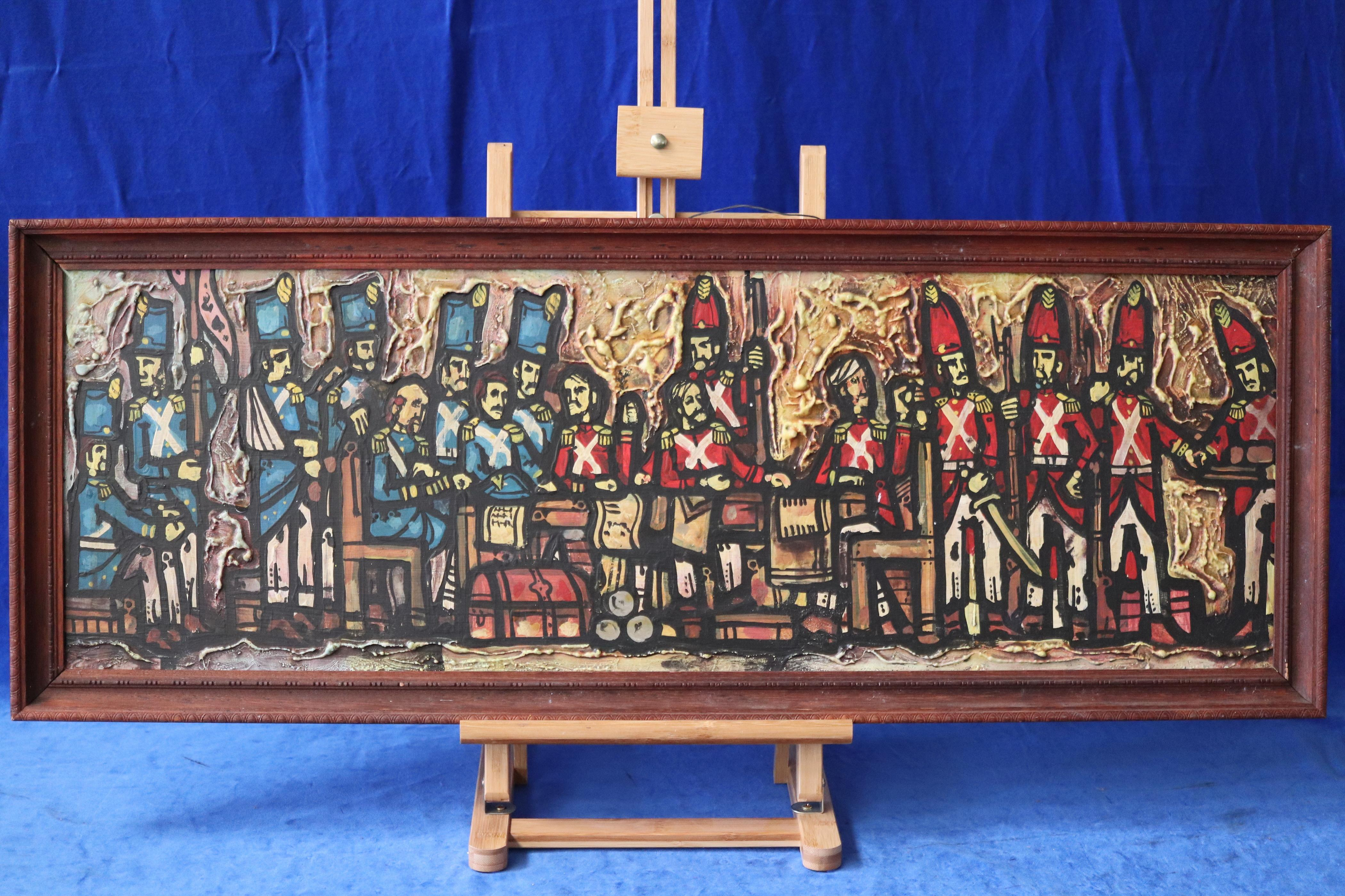 MICHAEL SALMON - CANBERRA 1973 SIGNED OIL PAINTING - TITLED SURRENDER OF THE BLUE ARMY TO THE RED ARMY